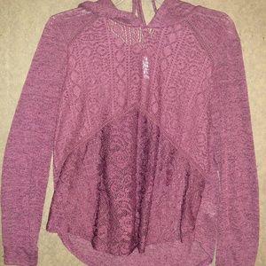 Beautiful! Long sleeve see thru lace hoodie
